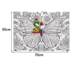 Puzzle Butterfly Swarm DIY Jigsaw with Color Pencile 500 Pieces Adult Wooden DIY Jigsaw Puzzle Modern Art Home Decor - Great for Family Time - Promotes Problem-Solving (70 x 50 cm)