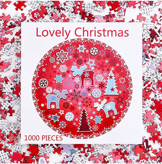Puzzle-Lovely Christmas -1000 Pieces Lovely Christmas Poinsettia Mandala Challenge Blue Board Round Jigsaw Puzzles