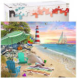 Load image into Gallery viewer, Puzzles for Adults 1000 Piece, Alonea Jigsaw Puzzle Educational Intellectual Decompressing Fun Family Game Holiday Gift Pattern Toy for Kids Adults (Seaside Beach Vacation) (Orange)