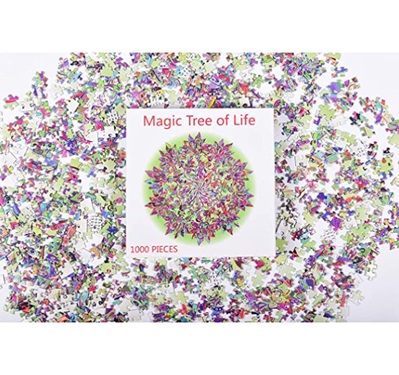 Puzzle-Magic Tree of Life -1000 Pieces Colorful Leaves Mandala Challenge Blue Board Round Jigsaw Puzzles