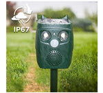 Load image into Gallery viewer, Ultrasonic Animal Repellent Cat Repeller Dog Deterrent Squirrel Driver Solar Powered Waterproof Outdoor Green