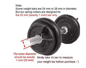 1 inch (25 mm) Barbell Spring Clip Collars (Pack of 4), Exercise Collars Dumbbell Clamps for Standard 1 inch Weight Bar (May not for Threaded Bar, Double-Check Before Purchase)