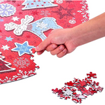 Load image into Gallery viewer, Puzzle-Lovely Christmas -1000 Pieces Lovely Christmas Poinsettia Mandala Challenge Blue Board Round Jigsaw Puzzles