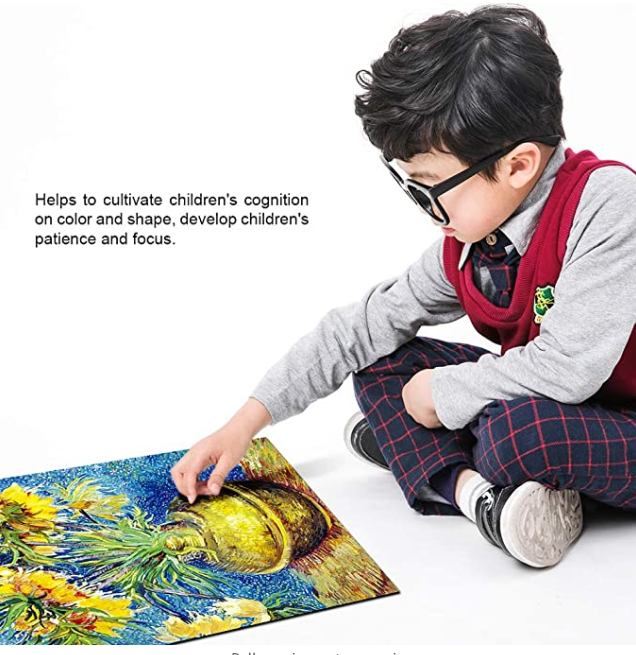 The Sunflowers Puzzle,1000 Pieces, Appreciate The Rhythm of Life, Texture Quality Like Flax Canvas for Kids 10, 11, 12 and Up