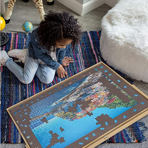 Adjustable Wooden Puzzle Board Easel Non-Slip Felt Surface Puzzle Table Accessory for Up to 1,500 Pieces Puzzles