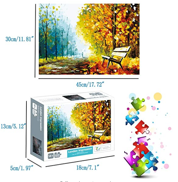 Puzzles for Adults Jigsaw Puzzles 1000 Pieces for Adults Kids–Autumn Scene Oil Painting Style Jigsaw Puzzle Game Toys Gift