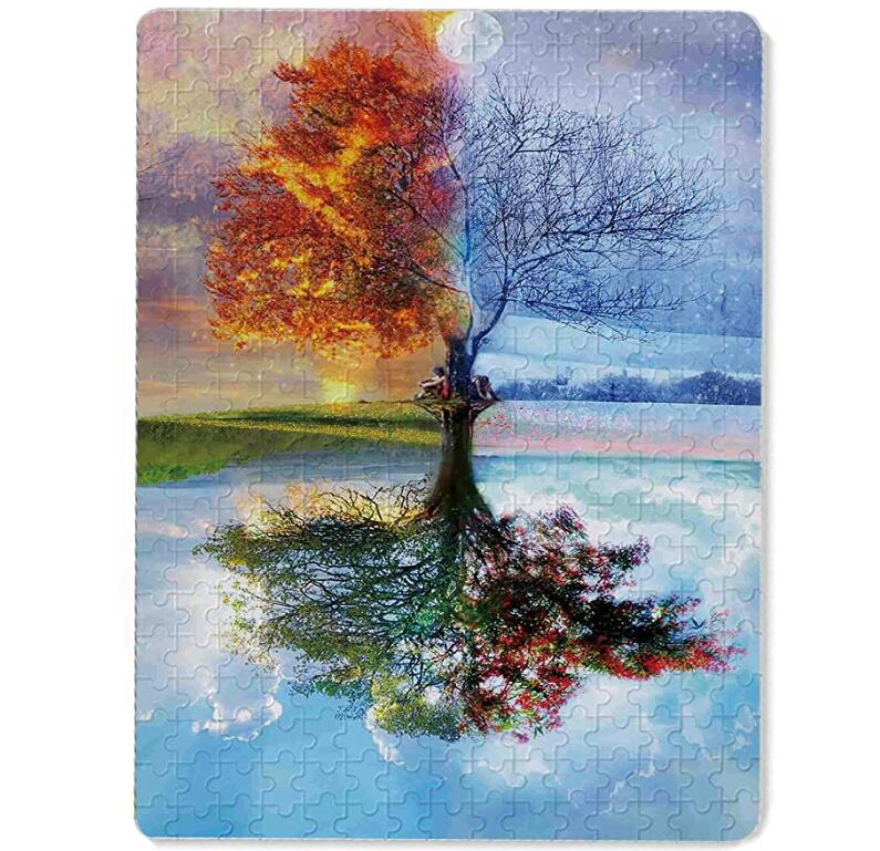 Jigsaw Puzzles 300 Piece, Four Season Tree Puzzles for Adults Kids Best Gifts for Family Friends