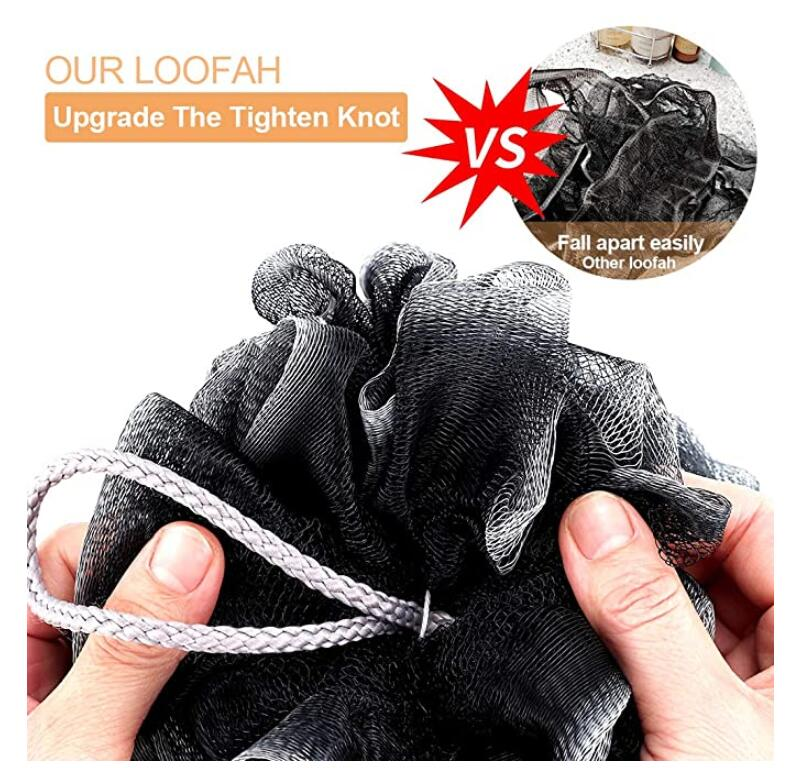 Loofah Bath Sponge, Novosun XL 75g Soft Shower Sponge Set Extra Large Mesh Pouf Scrubber for Men and Women Exfoliate,Cleanse,Soothe Skin Pack of 4