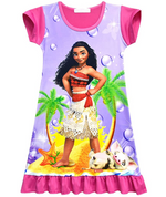 Load image into Gallery viewer, Moana Girls Nightgown Cartoon Pajamas Princess Dress