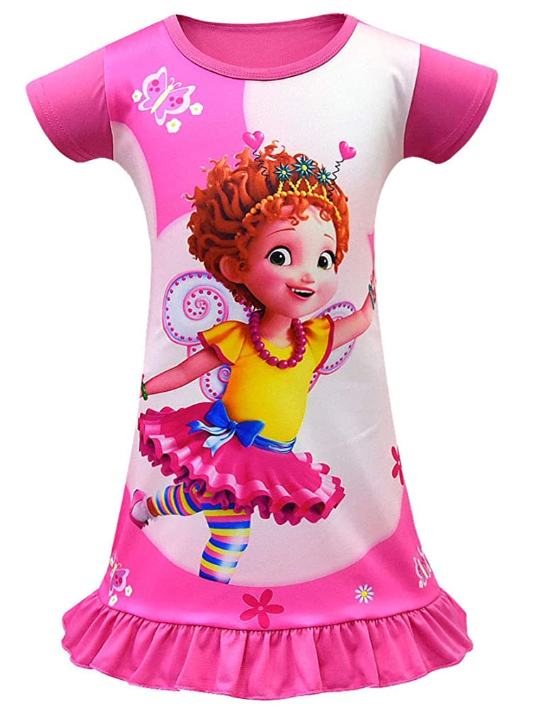 Fancy Nancy Pajamas for Girls Printed Princess Dress Nightgown for Toddler 4-9Years