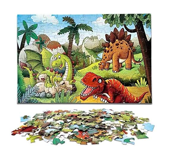Dinosaur Jigsaw Puzzles for Kids Age 4-8, 100 Piece Preschool Puzzle Set for Toddlers and Children, Animal Learning Educational Puzzle Toys Great Gift for Boys and Girls(Style 1)