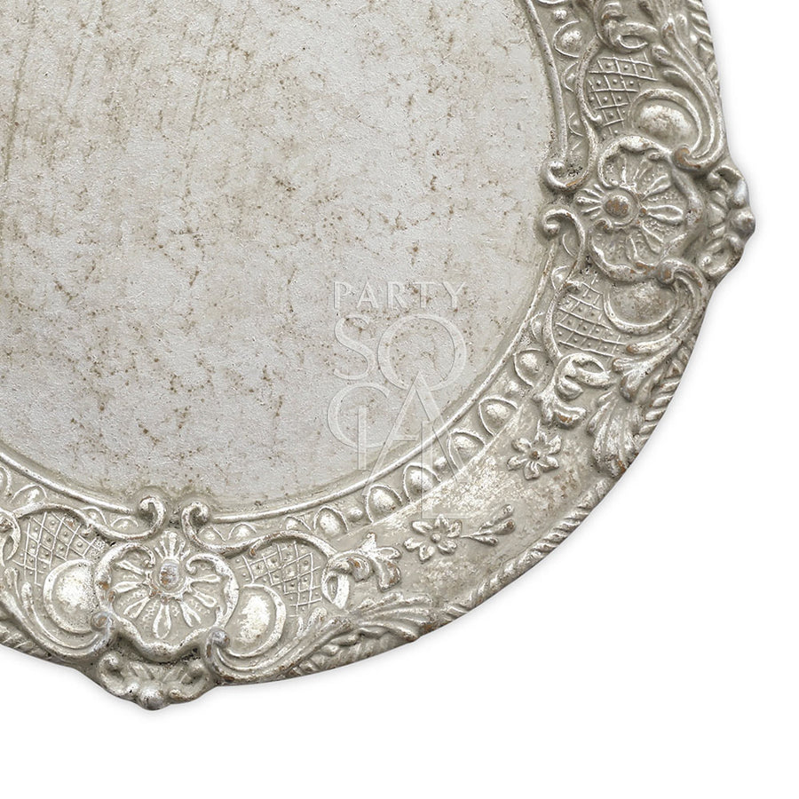 CHARGER PLATE - FLORENTINE ANTIQUE WOOD