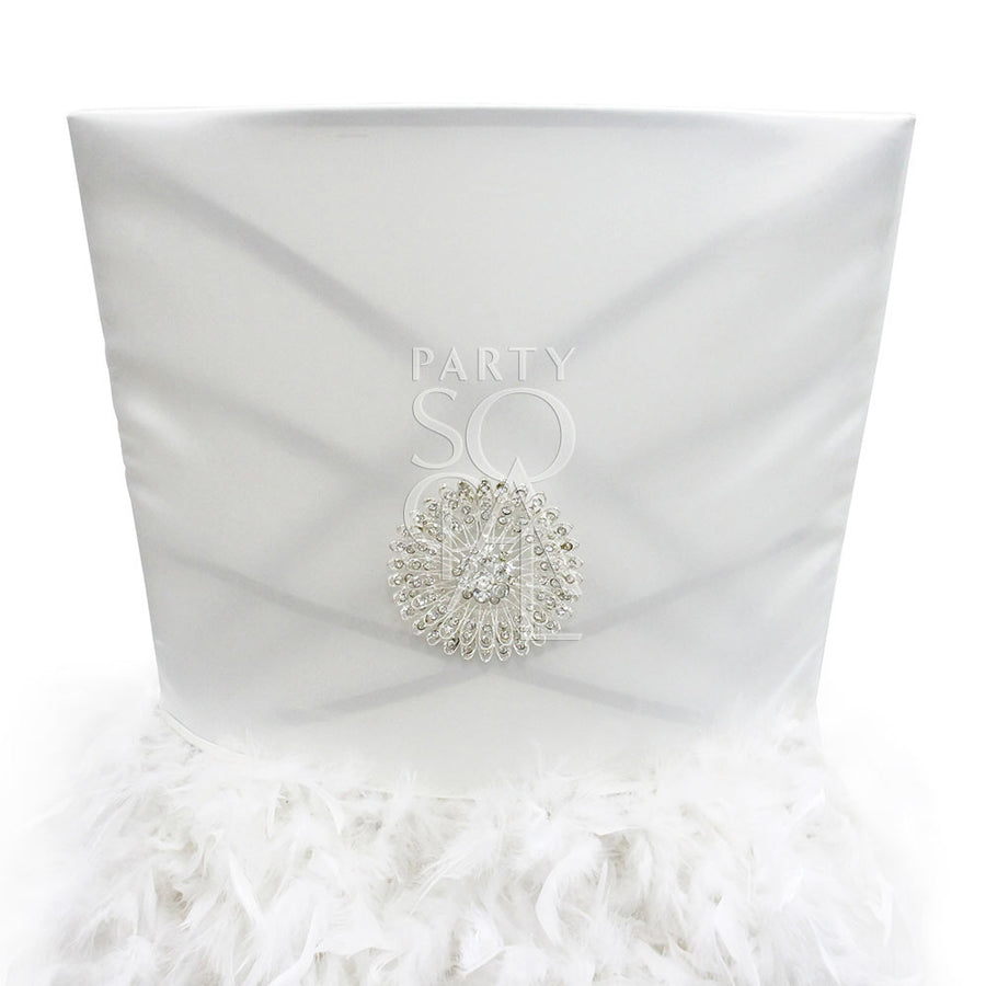 CHAIR COVER FEATHERED OFF WHITE SATIN CHAMELEON