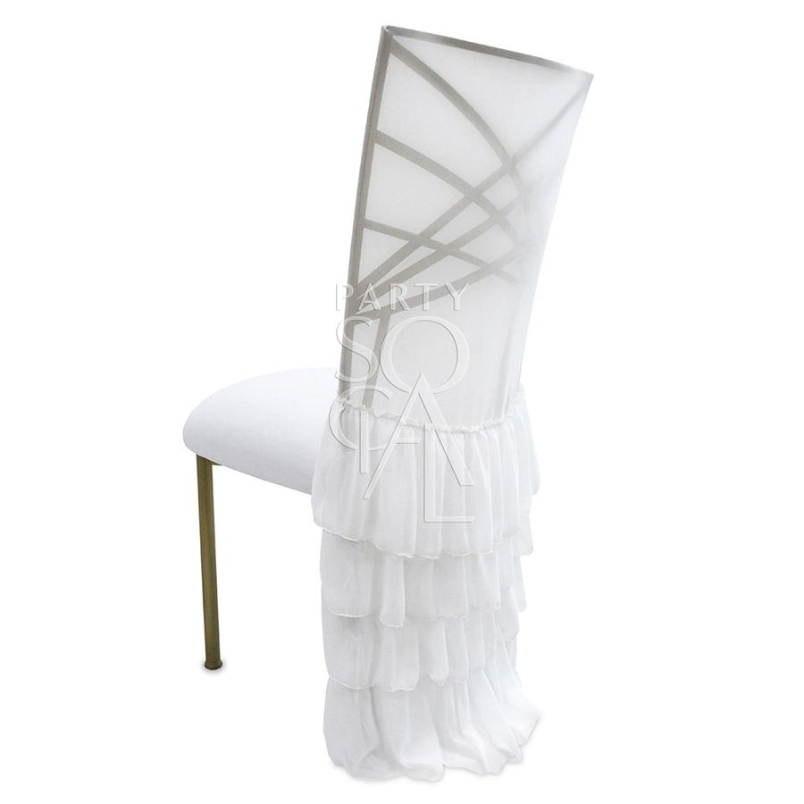 CHAIR COVER WHITE RUFFLED CHAMELEON