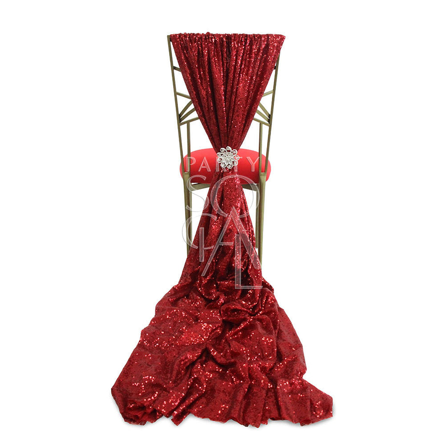 CHAIR COVER RED SEQUIN TRAIN CHAMELEON