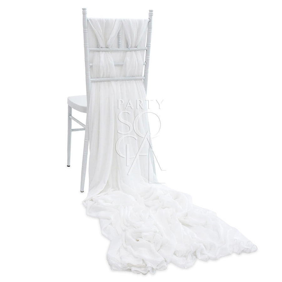 CHAIR COVER WHITE CHIFFON TRAIN CHIAVARI