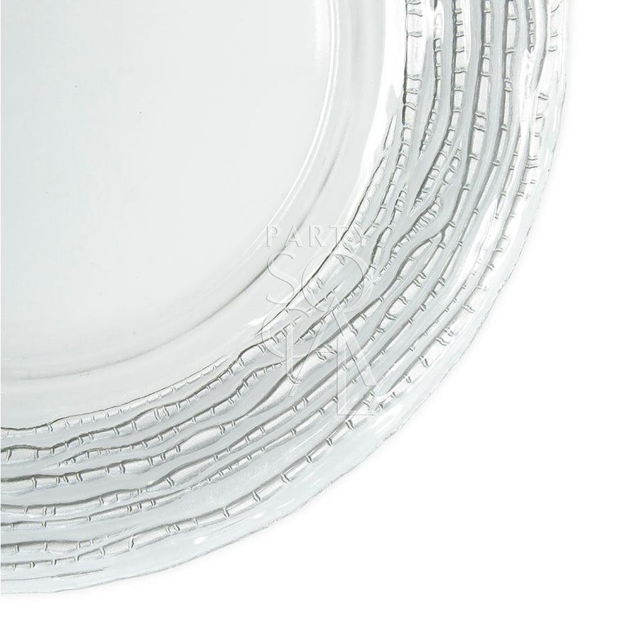 CHARGER PLATE - GLASS SILVER RUFFLE