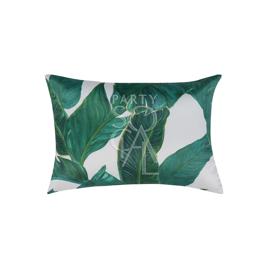 CUSHION WHITE WITH BANANA LEAVES PRINT