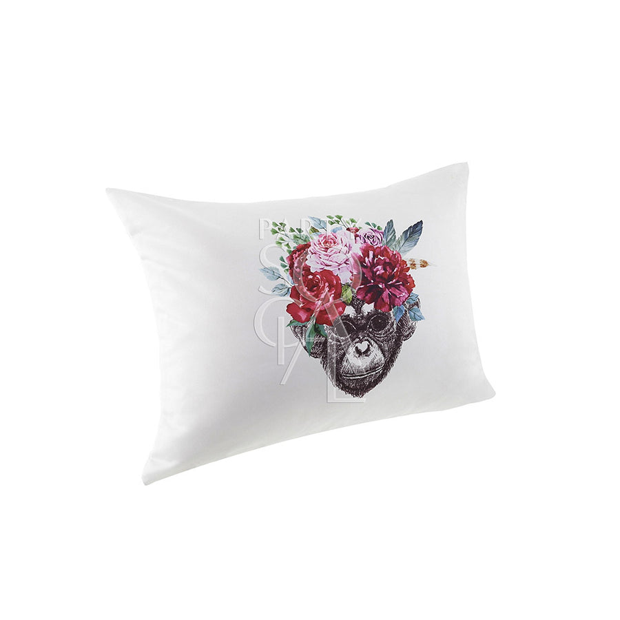 CUSHION OFF WHITE W/ MONKEY FACE