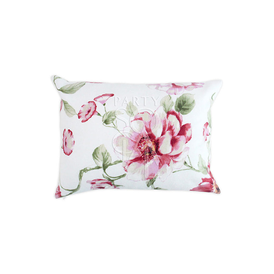 CUSHION WHITE & LARGE PINK FLOWERS