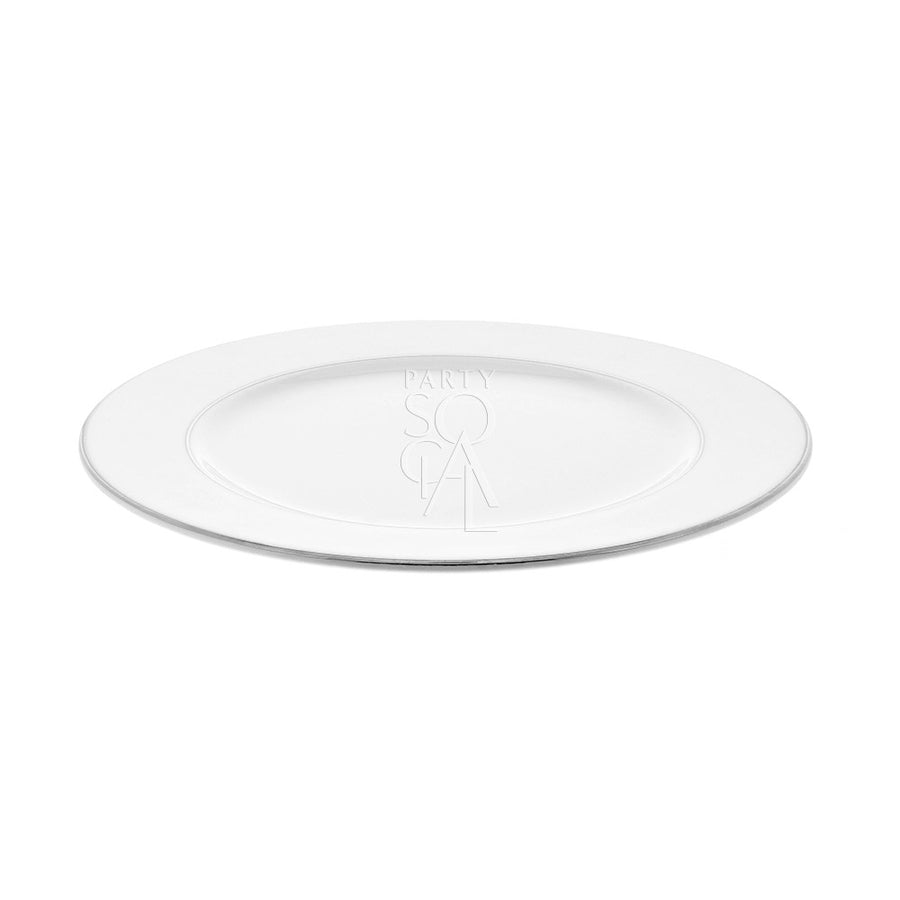 CHARGER PLATE - MODERN CHINA SILVER RIMMED