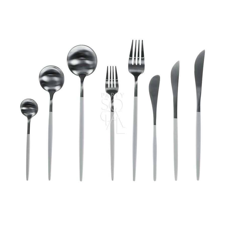 CUTLERY WHITE & SILVER ( SET OF 8 PIECE )