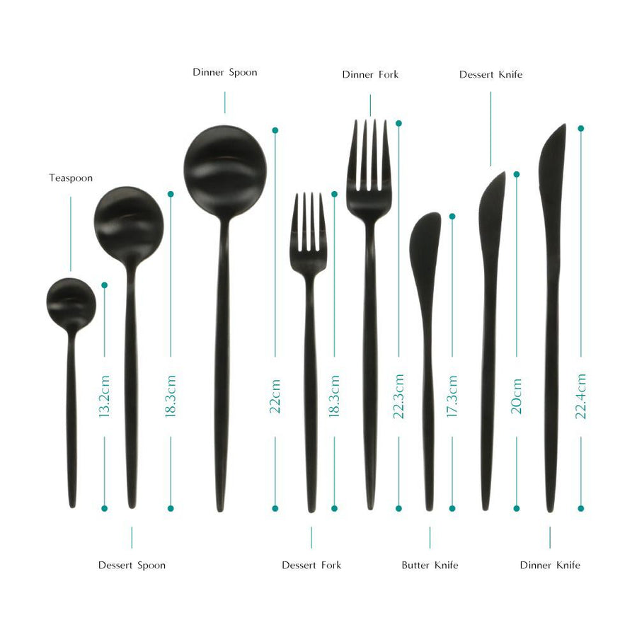 CUTLERY MODERN BLACK ( SET OF 8 PIECE )