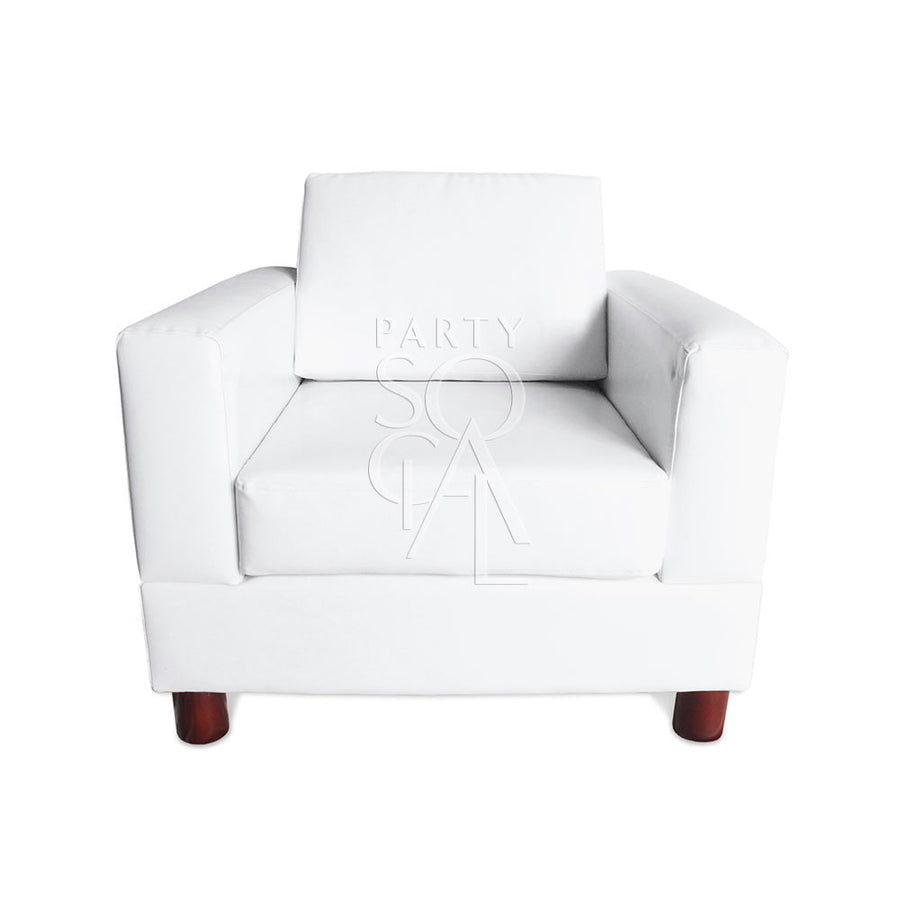 WHITE LEATHER 1 SEAT LOUNGE