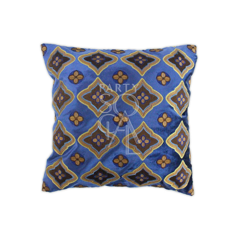 CUSHION PATTERNED BLUE & EARTH TONES