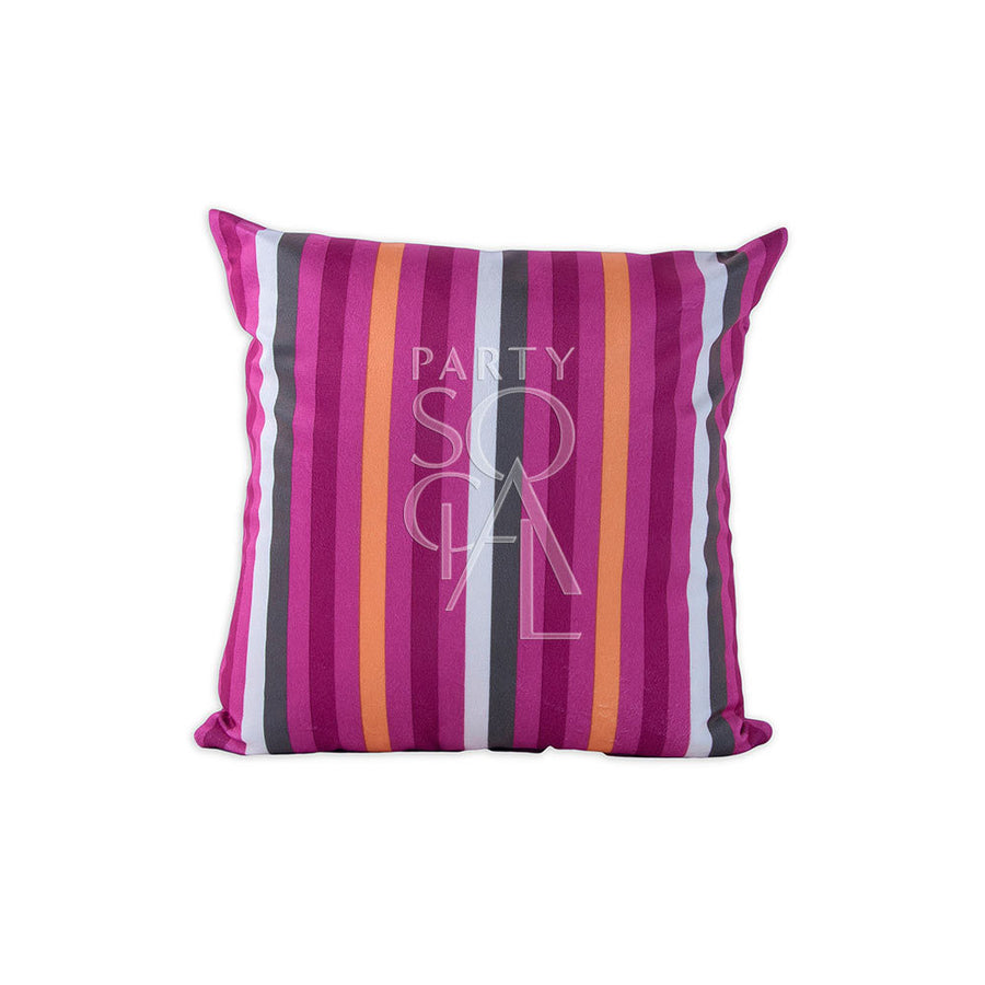 CUSHION PINK LINED PRINT VELVET