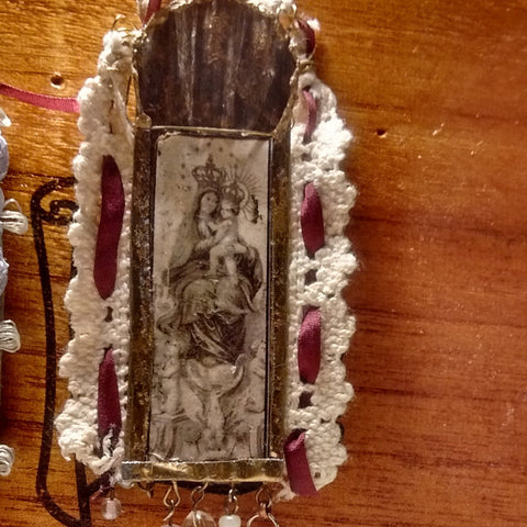 Virgin Mary Queen of Heaven Tin and Lace Shrine Ornament