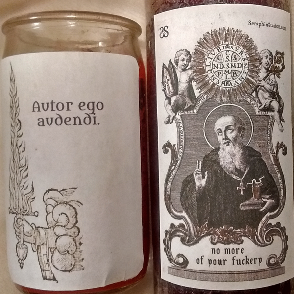 Dressed, Fixed St. Benedict Vigil Candle - Enough of Your F*ckery
