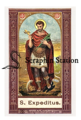 St. Expedite Holy Card, Wallet Sized - Redesigned