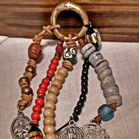 Five-Way Primitive Deconstructed Leather Hoodoo Rosary