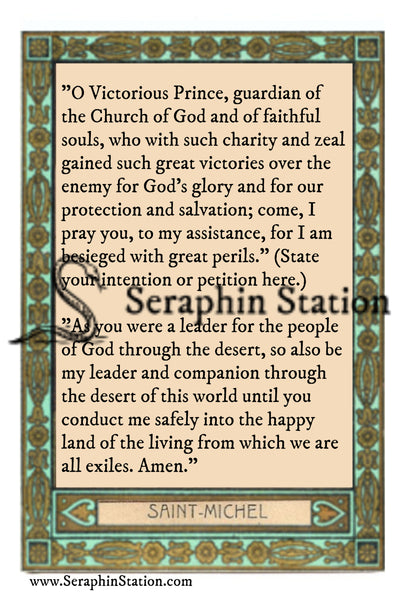 St. Michael Mini Holy Card, Wallet Sized