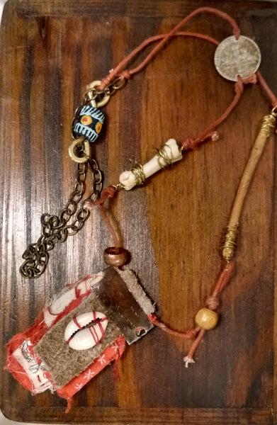 The Red Charm: Rustic Hoodoo Charm Amulet Necklace