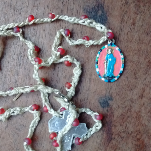 St. Dymphna Handpainted Medal, Beaded Crochet Necklace, Four Way Cross