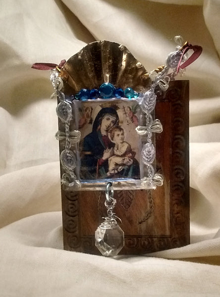 Our Lady of Perpetual Help Tin Shrine Ornament