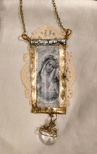 Virgin Mary Immaculate Heart Shrine Ornament, Vintage Patina