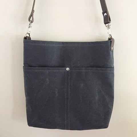 Gray Waxed Canvas Crossbody