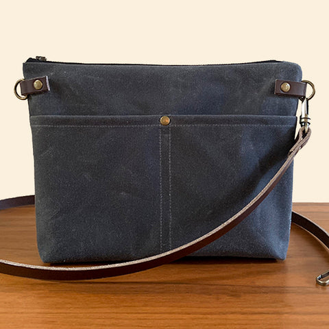 Crossbody Bag with Zipper - Gray
