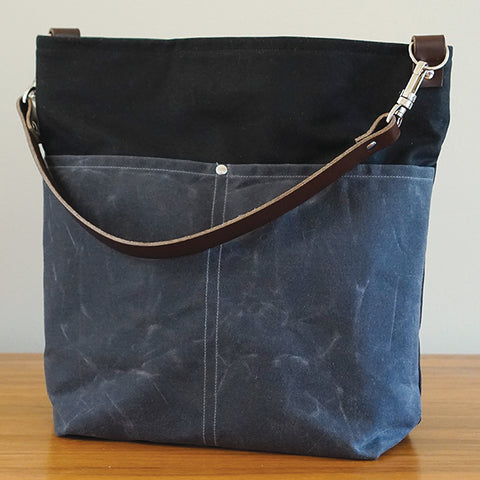 Gray & Black Slouchy Tote