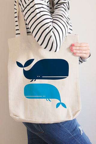 Whales Canvas Tote Bag