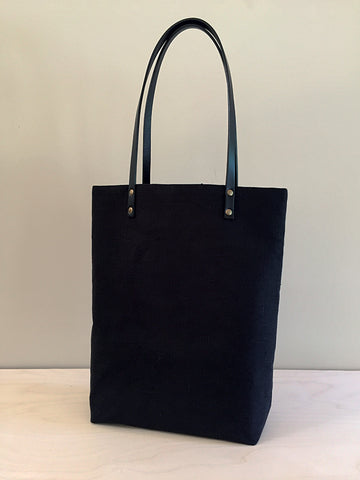 Simple Linen Tote – Black