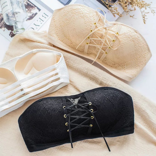 Lace Strapless Drawstring Bandeau - The Changing World Store