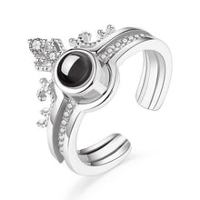 "Load image into Gallery viewer, 925 Sterling Silver 100 Languages ""I Love You"" Memory Crown Couple Rings"