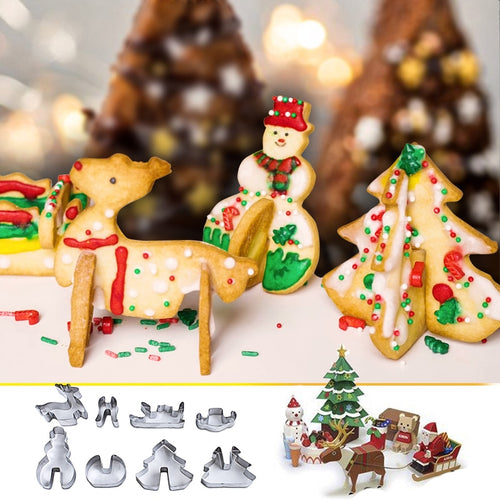 8Pcs/Set  Christmas 3D Cookie Cutter Set