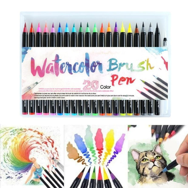 Watercolor Brush Pens (20 Piece Set)
