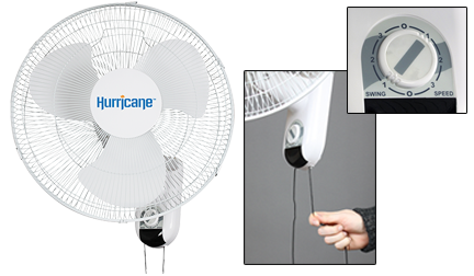 Hurricane Classic 16 in Wall Mount Oscillating Fan