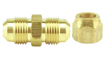 Short Forged Flare Nut Brass 1/4 in (10/Cs)